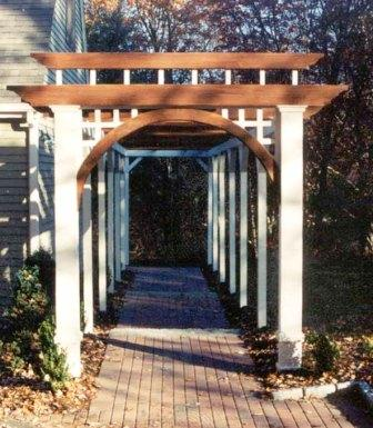 custom millwork with ipe hardwood for outdoor arbor