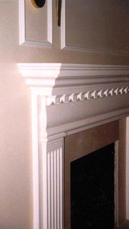 custom wood mantel painted  white