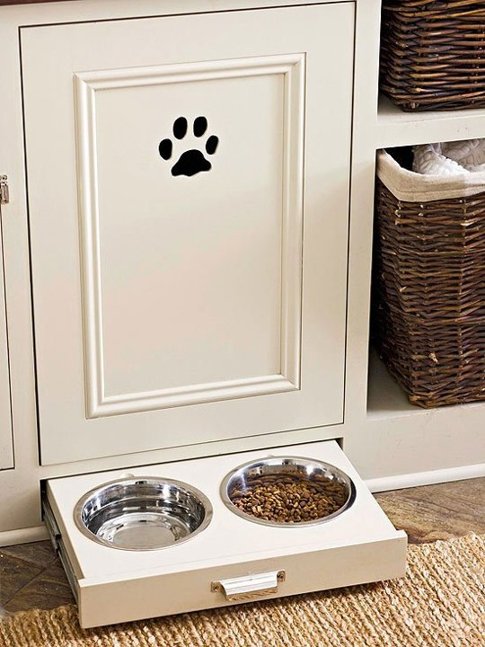Pull out dog bowls from Pinterest