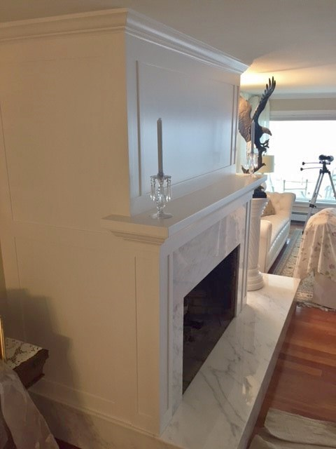 Custom Shaker style fireplace surround painted and installed