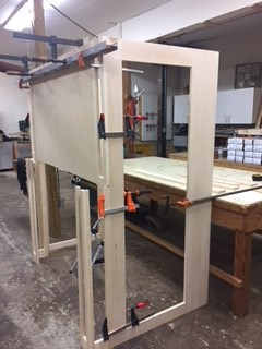 custom fireplace surround framework with legs, breastboard and returns