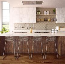 gorgeous vertical wood island and white upper cabinets