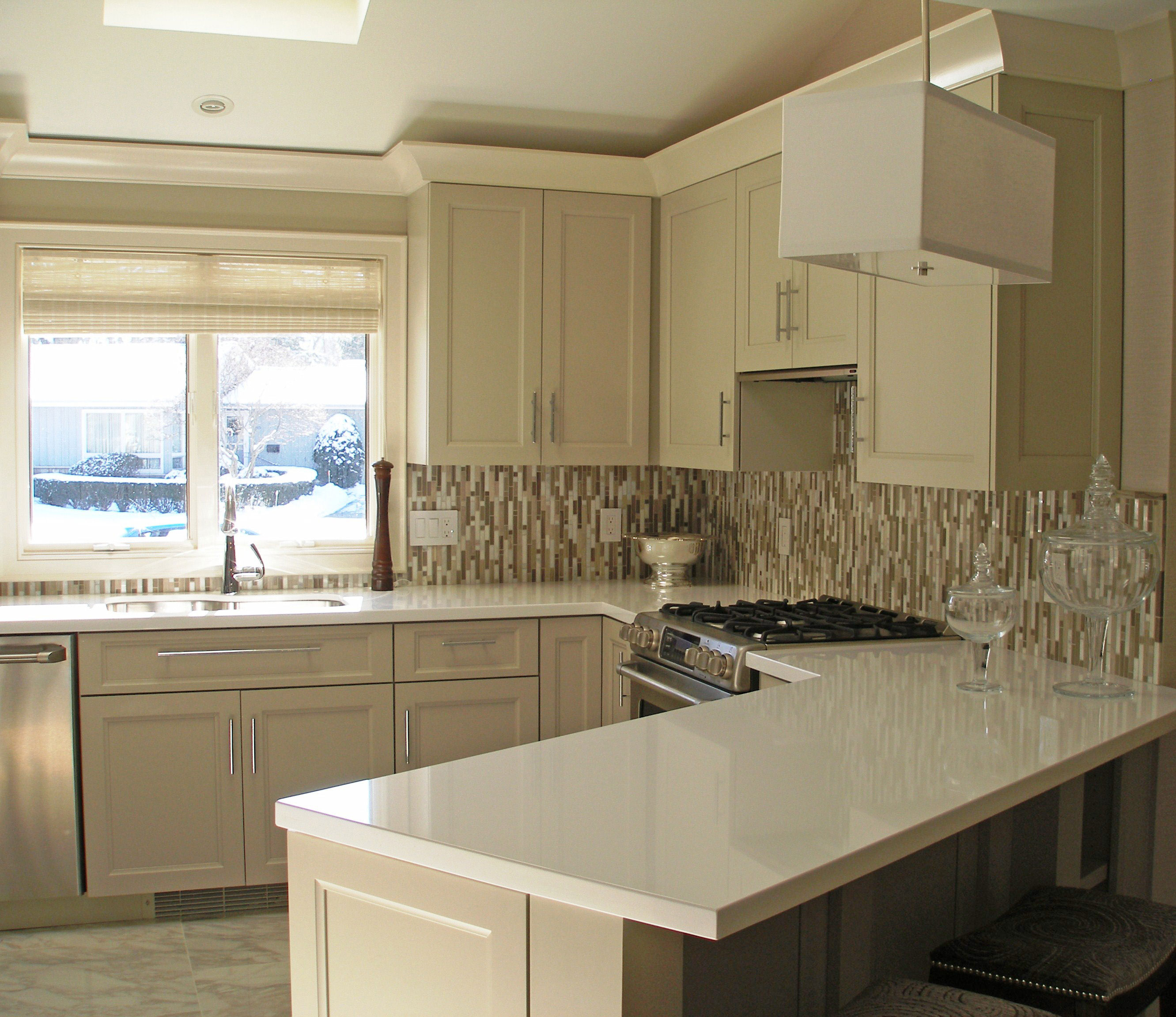 Small kitchen design is big on style for American woodcraft kitchen cabinets