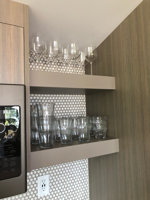 siteline cabinetry striated laminate and open shelving