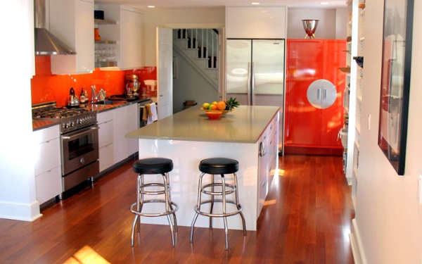 general woodcraft custom coastal kitchen with persimmon accents